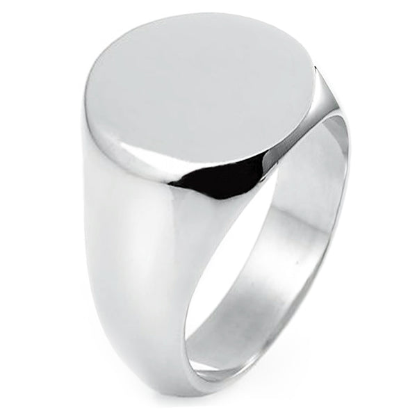 Sterling Silver Engravable Round Flat Top Polished Ring - Tioneer