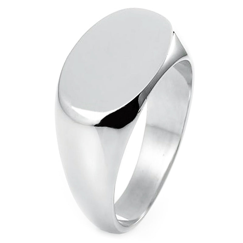 Sterling Silver Engravable Oval Flat Top Polished Ring - Tioneer