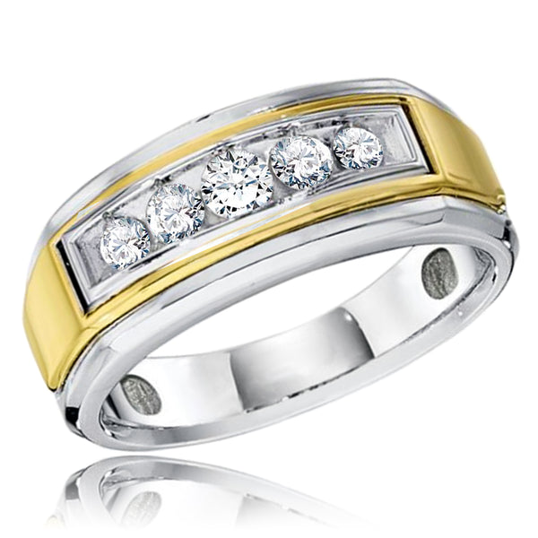 18K Two-Tone White/Yellow Gold 0.50 CTW Diamond (H-I, SI2-I1) Gents Men's Ring Wedding Band - Tioneer