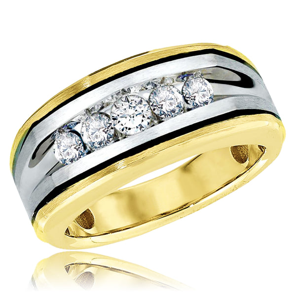 18K Two-Tone White/Yellow Gold 0.50 CTW Diamond (H-I, SI2-I1) Black Rhodium Accent Men's Ring Wedding Band - Tioneer