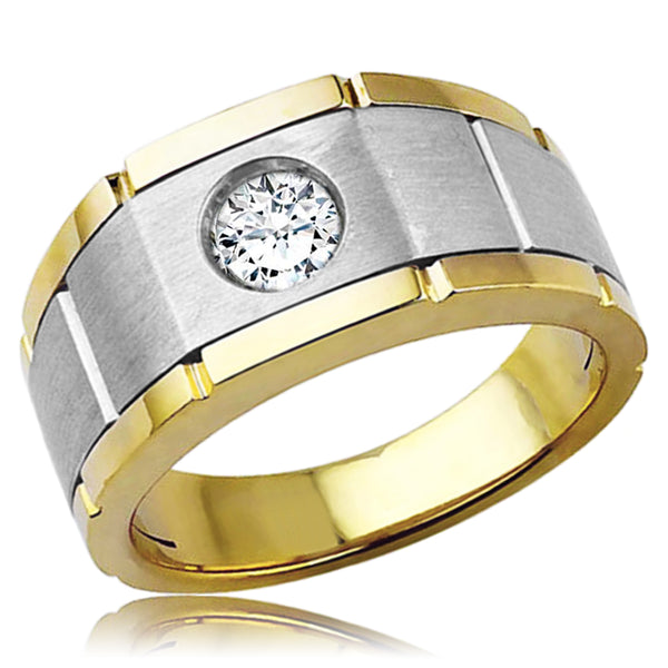 18K Two-Tone White/Yellow Gold 0.40 CTW Diamond (H-I, SI2-I1) Solitaire Satin Men's Ring - Tioneer