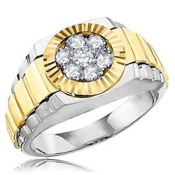 18K Two-Tone White/Yellow Gold 0.50 CTW Diamond (H-I, SI2-I1) Cluster Bezel Men's Ring - Tioneer