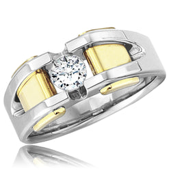 18K Two-Tone White/Yellow Gold 0.40 CTW Diamond (H-I, SI2-I1) Solitaire All Bright Men's Ring - Tioneer