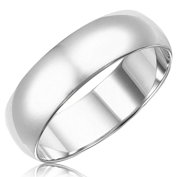 14K Gold Heavy-Weight Classic Plain Domed 6MM Trad-Comfort Fit Wedding Band Ring - Tioneer