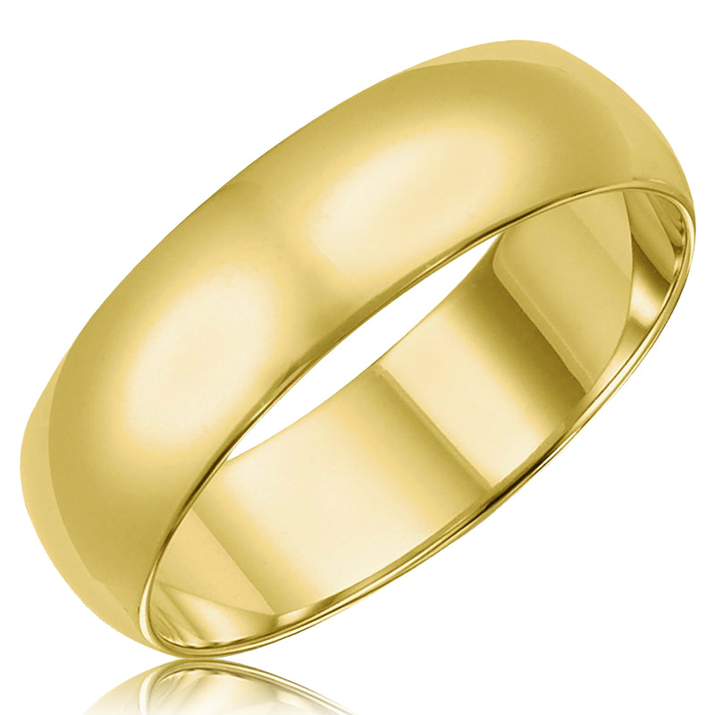 14K Gold Mid-Weight Classic Plain Domed 6MM Comfort Fit Wedding Band Ring - Tioneer