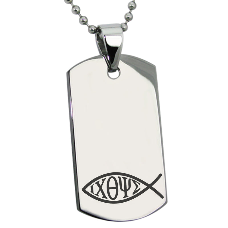 Stainless Steel Ichthus Fish Engraved Dog Tag Pendant Necklace - Tioneer