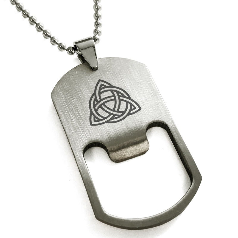 Stainless Steel Triquetra Holy Trinity Engraved Bottle Opener Dog Tag Pendant Necklace - Tioneer