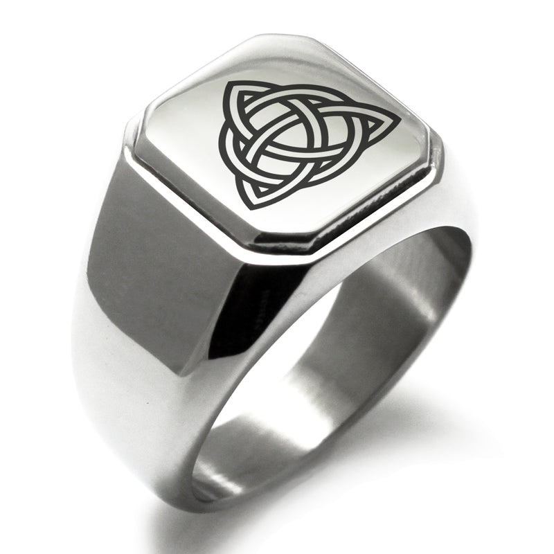 Stainless Steel Triquetra Holy Trinity Engraved Square Flat Top Biker Style Polished Ring - Tioneer