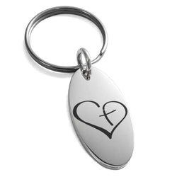 Stainless Steel Cross My Heart Engraved Small Oval Charm Keychain Keyring - Tioneer