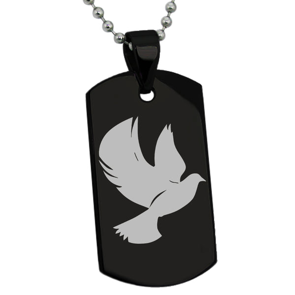 Stainless Steel Dove of Peace Engraved Dog Tag Pendant Necklace - Tioneer
