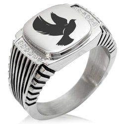 Stainless Steel Dove of Peace CZ Ribbed Needle Stripe Pattern Biker Style Polished Ring - Tioneer