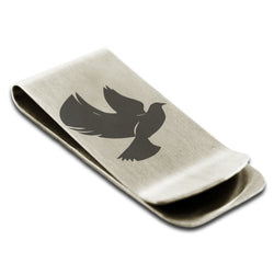 Stainless Steel Dove of Peace Engraved Money Clip Credit Card Holder - Tioneer