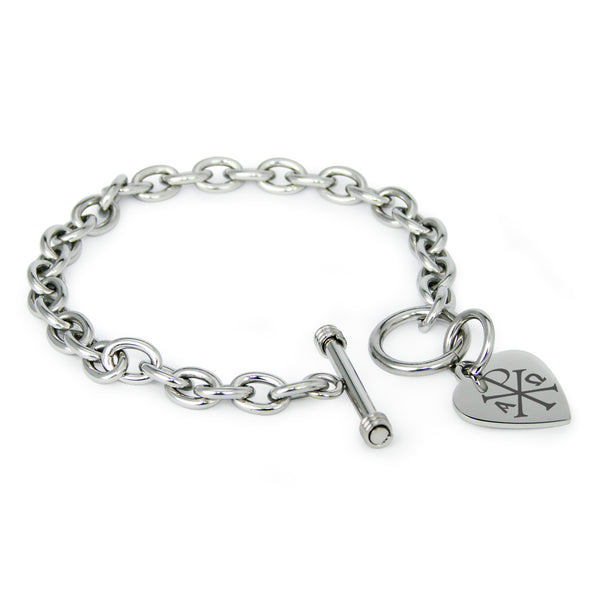 Stainless Steel Chi Rho Alpha Omega Engraved Heart Charm Toggle Link Bracelet - Tioneer