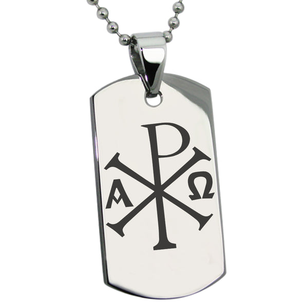 Stainless Steel Chi Rho Alpha Omega Engraved Dog Tag Pendant Necklace - Tioneer