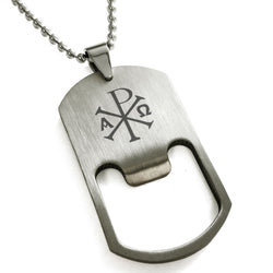 Stainless Steel Chi Rho Alpha Omega Engraved Bottle Opener Dog Tag Pendant Necklace - Tioneer