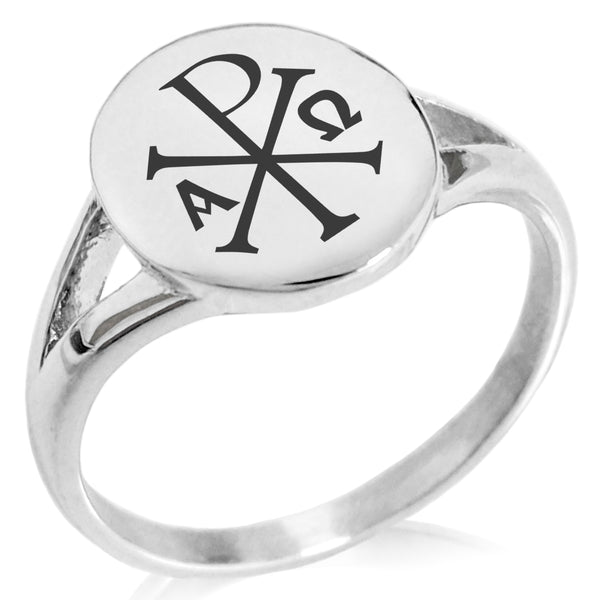 Stainless Steel Chi Rho Alpha Omega Minimalist Oval Top Polished Statement Ring - Tioneer