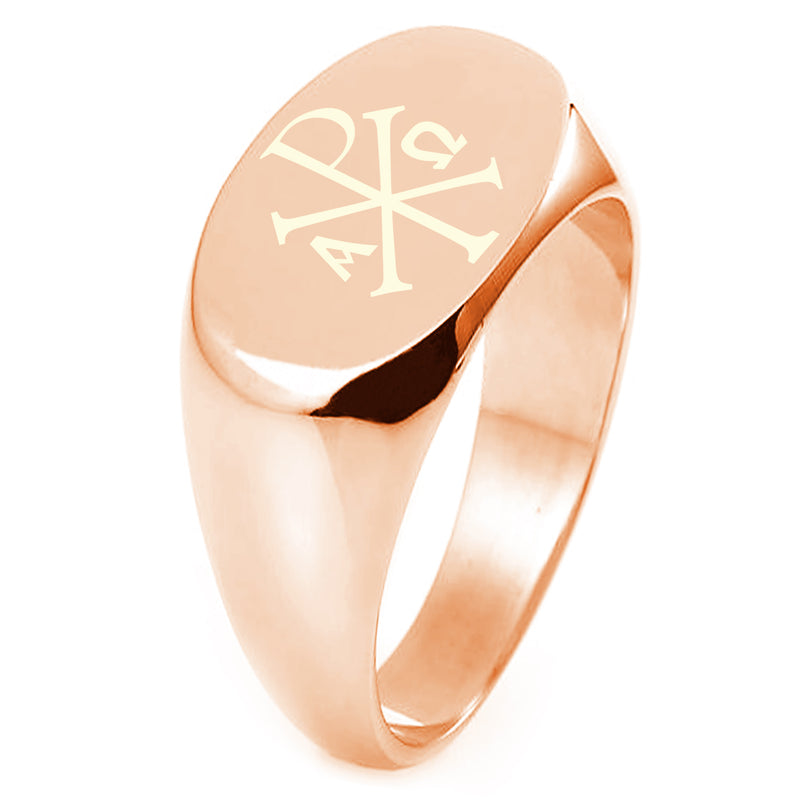Sterling Silver Chi Rho Alpha Omega Engraved Oval Flat Top Polished Ring - Tioneer
