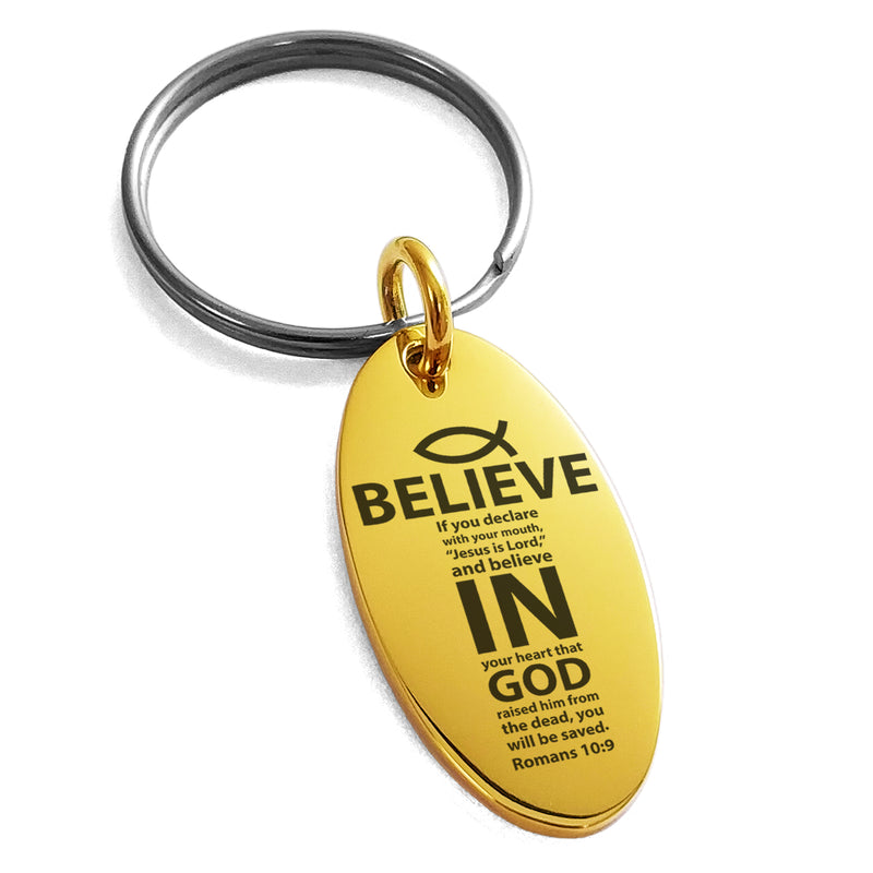 "Stainless Steel ""Believe in God Romans 10:9"" Engraved Small Oval Charm Keychain Keyring - Tioneer"