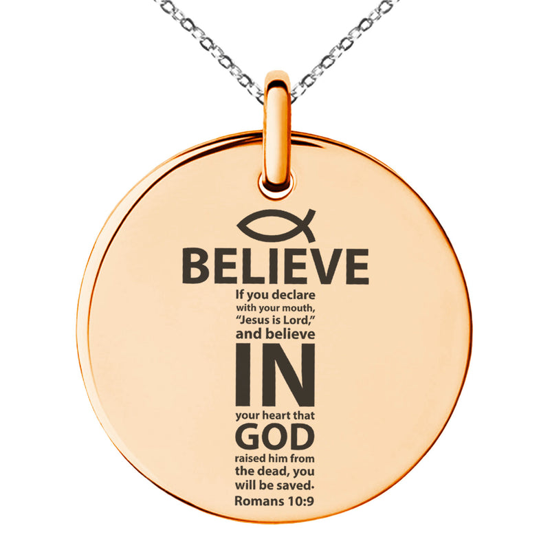 "Stainless Steel ""Believe in God Romans 10:9"" Engraved Small Medallion Circle Charm Pendant Necklace"