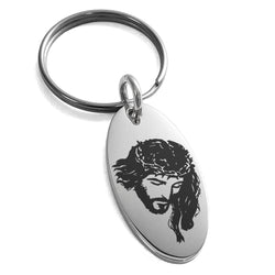 Stainless Steel Jesus Crucified Engraved Small Oval Charm Keychain Keyring - Tioneer