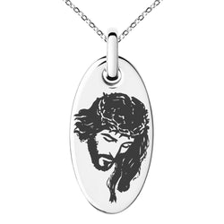 Stainless Steel Jesus Crucified Engraved Small Oval Charm Pendant Necklace