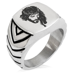 Stainless Steel Jesus Crucified Chevron Pattern Biker Style Polished Ring - Tioneer