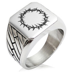 Stainless Steel Crown of Thorns Geometric Pattern Biker Style Polished Ring - Tioneer