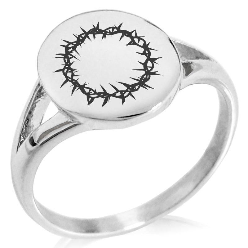 Stainless Steel Crown of Thorns Minimalist Oval Top Polished Statement Ring - Tioneer