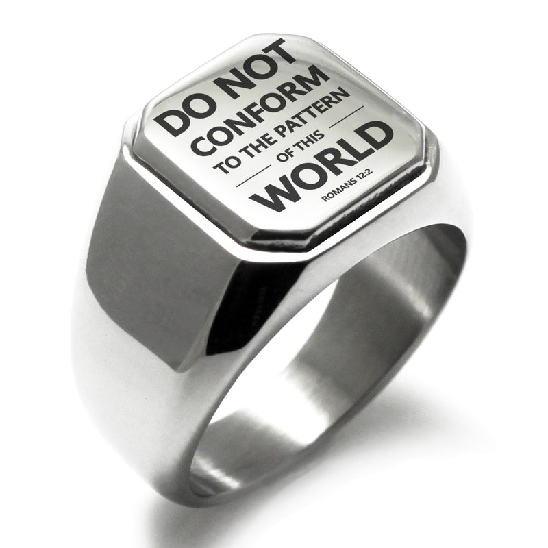 "Stainless Steel ""Do Not Conform Romans 12:2"" Engraved Square Flat Top Biker Style Polished Ring - Tioneer"