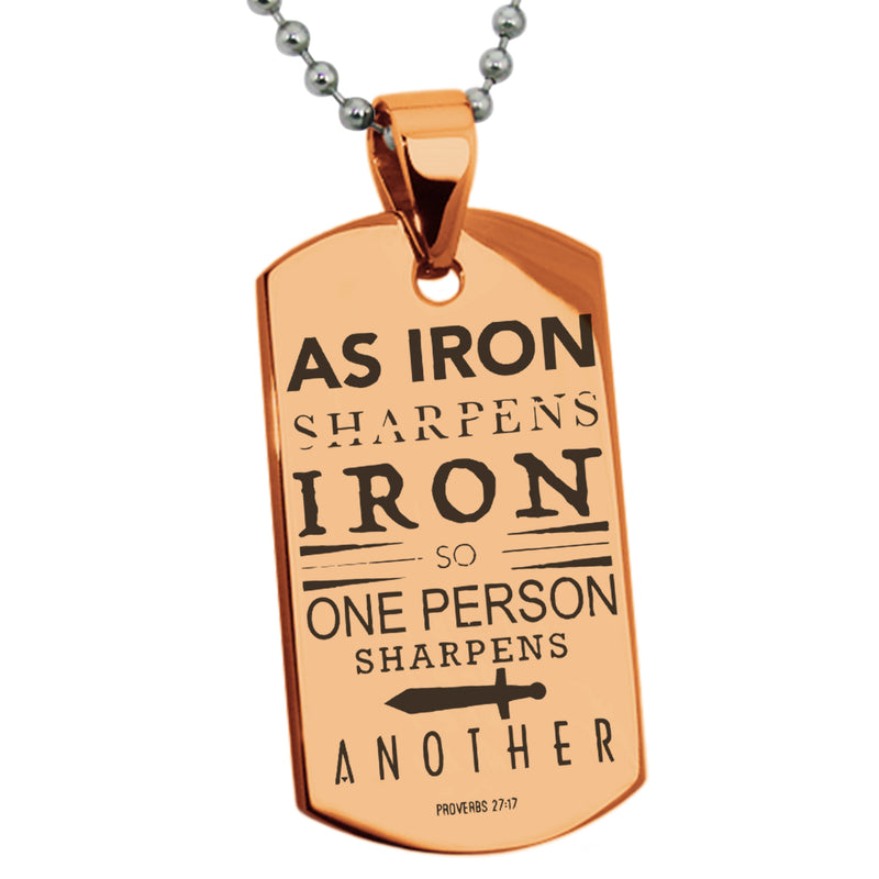 "Stainless Steel ""As Iron Sharpens Iron Proverbs 27:17"" Engraved Dog Tag Pendant Necklace - Tioneer"