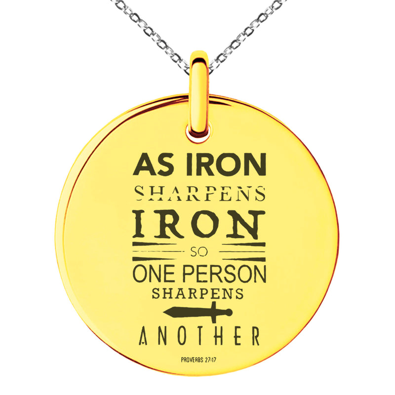 "Stainless Steel ""As Iron Sharpens Iron Proverbs 27:17"" Engraved Small Medallion Circle Charm Pendant Necklace"