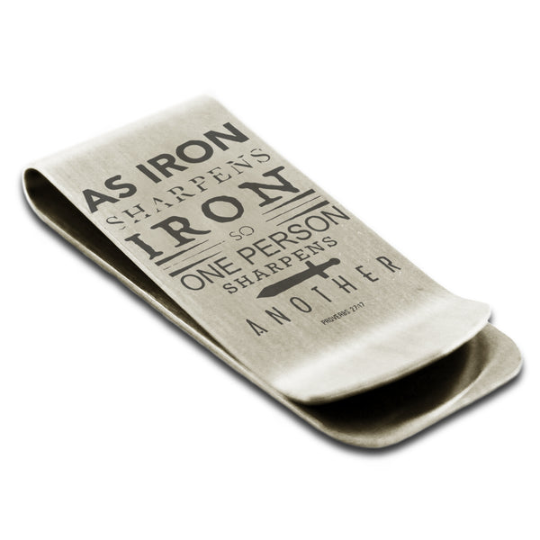 "Stainless Steel ""As Iron Sharpens Iron Proverbs 27:17"" Engraved Money Clip Credit Card Holder - Tioneer"