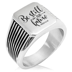 "Stainless Steel ""Be Still & Know Psalm 46:10"" Needle Stripe Pattern Biker Style Polished Ring - Tioneer"