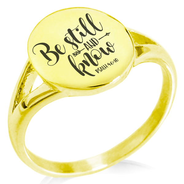 "Stainless Steel ""Be Still & Know Psalm 46:10"" Minimalist Oval Top Polished Statement Ring - Tioneer"