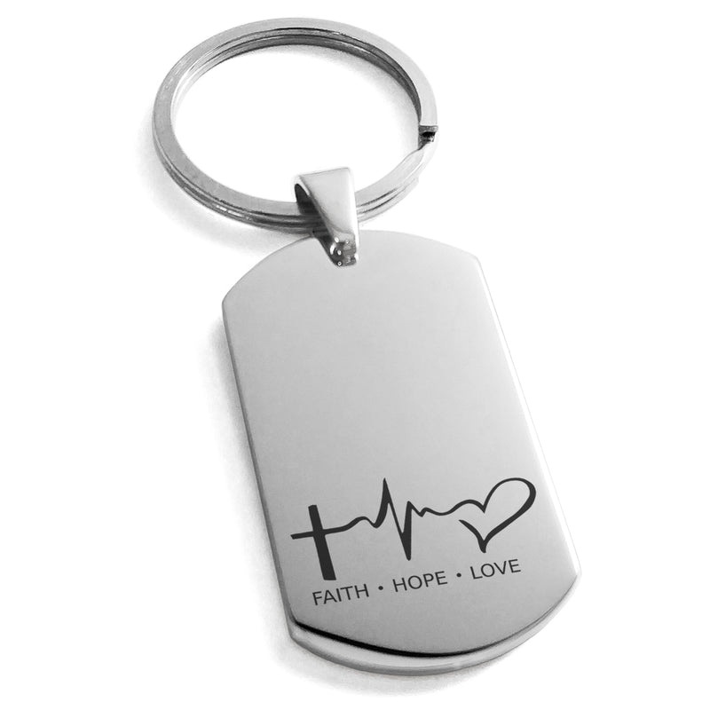 Stainless Steel Faith Hope Love Lifeline Engraved Dog Tag Keychain Keyring - Tioneer