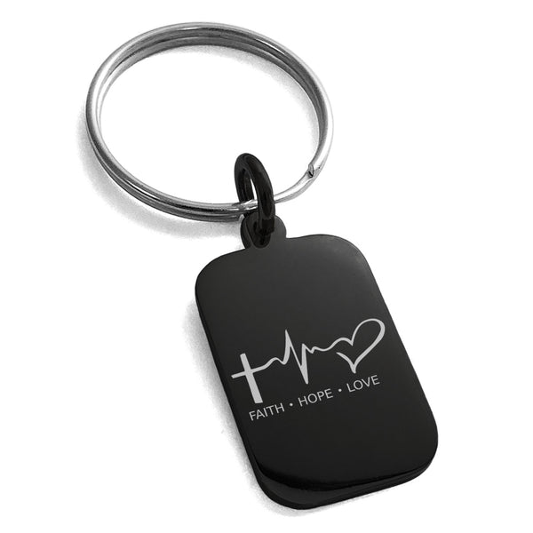 Stainless Steel Faith Hope Love Lifeline Engraved Small Rectangle Dog Tag Charm Keychain Keyring - Tioneer
