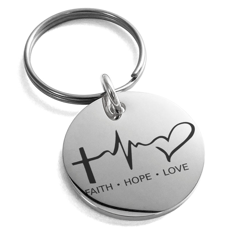 Stainless Steel Faith Hope Love Lifeline Engraved Small Medallion Circle Charm Keychain Keyring - Tioneer