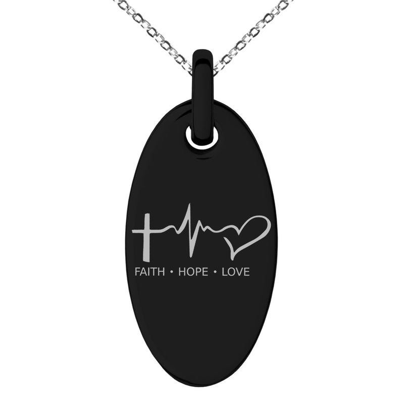 Stainless Steel Faith Hope Love Lifeline Engraved Small Oval Charm Pendant Necklace