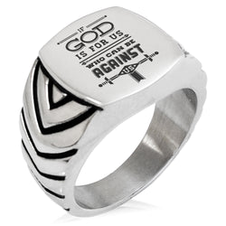 "Stainless Steel ""If God is for Us Romans 8:31"" Chevron Pattern Biker Style Polished Ring - Tioneer"