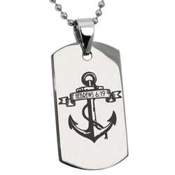 "Stainless Steel ""Anchor of the Soul Hebrews 6:19"" Engraved Dog Tag Pendant Necklace - Tioneer"