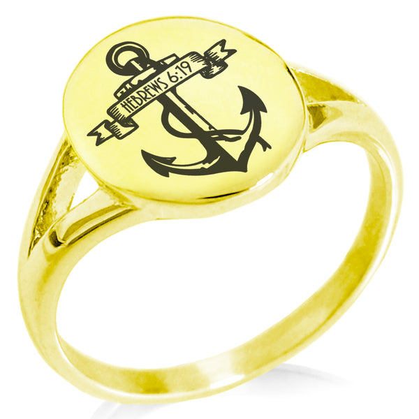 "Stainless Steel ""Anchor of the Soul Hebrews 6:19"" Minimalist Oval Top Polished Statement Ring - Tioneer"