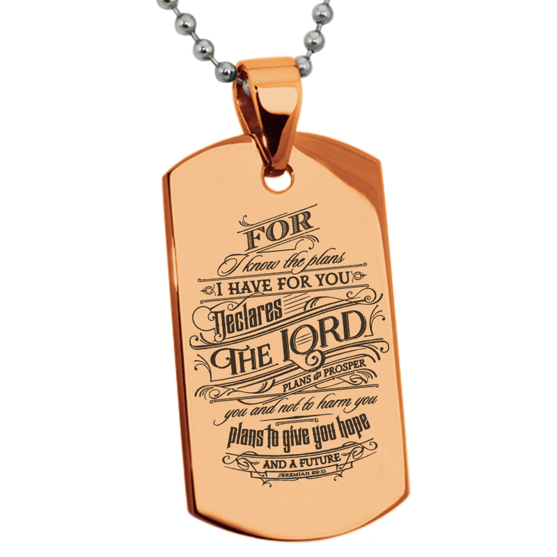 "Stainless Steel ""Hope & Future Jeremiah 29:11"" Engraved Dog Tag Pendant Necklace - Tioneer"