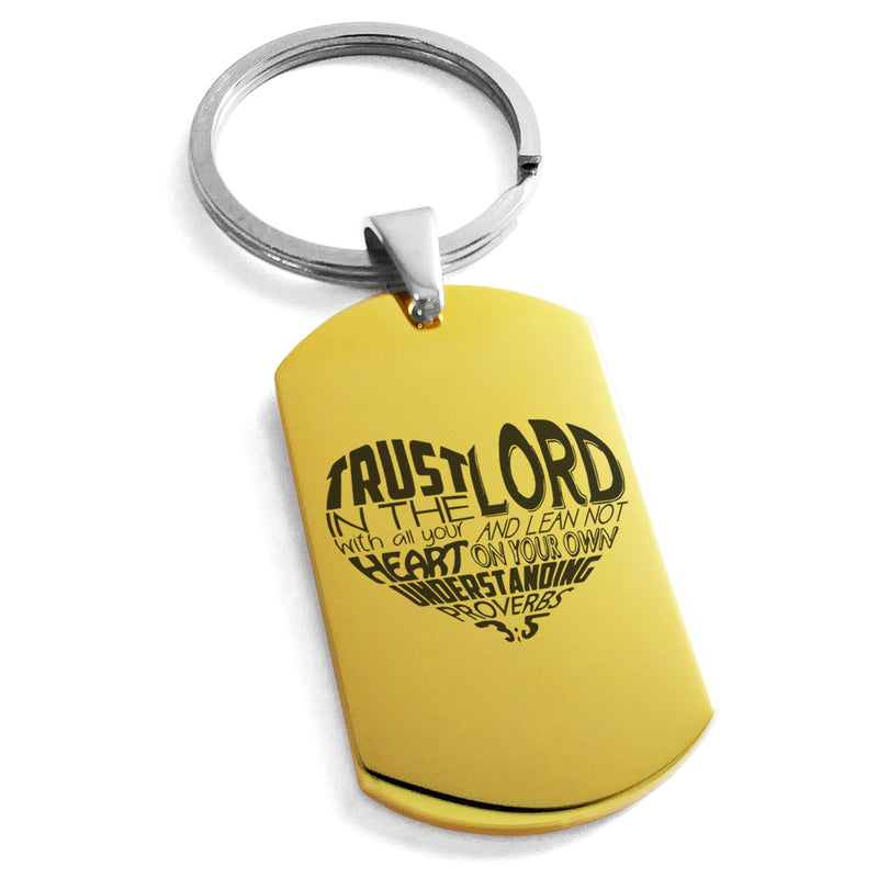 "Stainless Steel ""Trust in the Lord Proverbs 3:5"" Engraved Dog Tag Keychain Keyring - Tioneer"