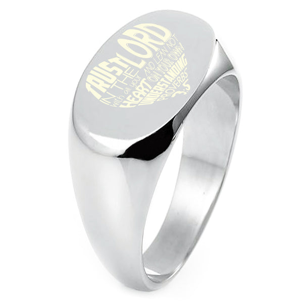 "Sterling Silver ""Trust in the Lord Proverbs 3:5"" Engraved Oval Flat Top Polished Ring - Tioneer"