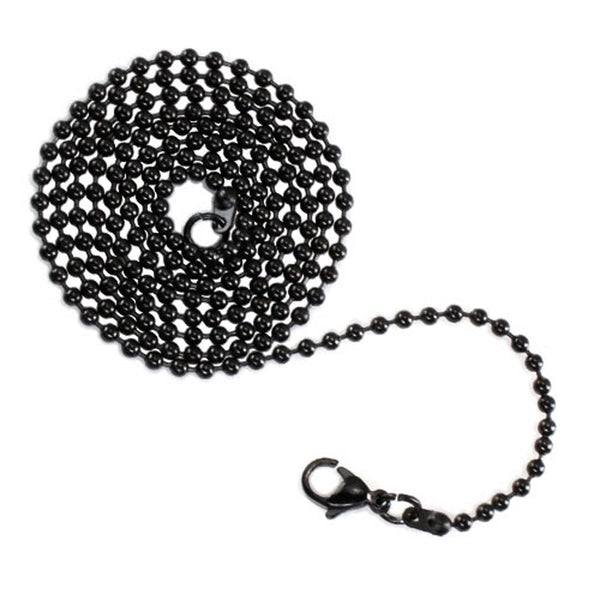Stainless Steel 2.4 MM Black Bead Ball Chain - Tioneer