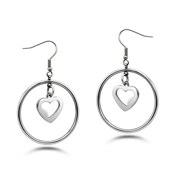 Stainless Steel Floating Heart Drop Dangle Earrings - Tioneer