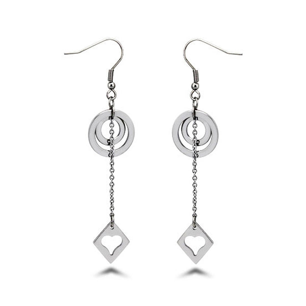 Stainless Steel Floating Disc & Heart Charm Drop Dangle Earrings - Tioneer