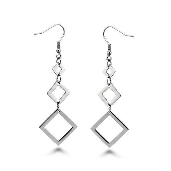 Stainless Steel Floating Diamond Cut Drop Dangle Earrings - Tioneer
