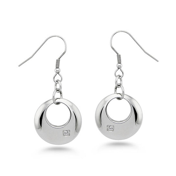 Stainless Steel Floating Crescent Charm Cubic Zironia Drop Dangle Earrings - Tioneer