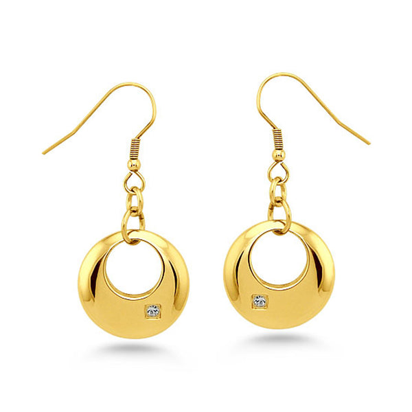 Gold Plated Stainless Steel Floating Crescent Charm Cubic Zironia Drop Dangle Earrings - Tioneer